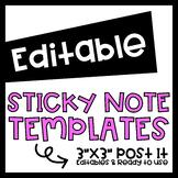 EDITABLE Post It Sticky Notes 3x3 Templates- Parent Reminder, Mindset, Notes...