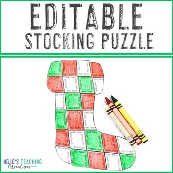 EDITABLE Stocking Template | Make Your Own Puzzles - Math, Literacy, or ANY!