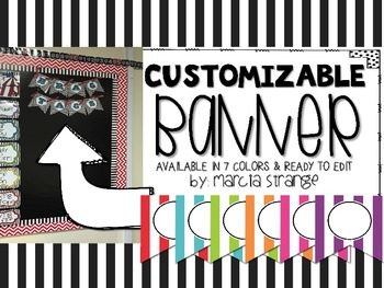 EDITABLE - Stripe Banner *More Colors Available in Store*