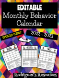 EDITABLE Student Behavior Calendar 2018-2019