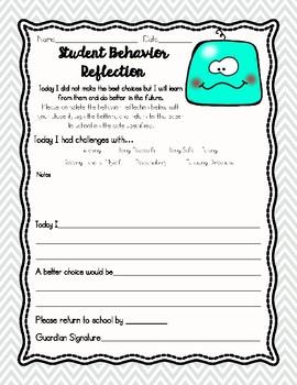 Student Behavior Reflection, Restorative Practice, Behavior Note Home