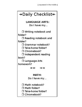 EDITABLE Student Daily Preparedness Checklist