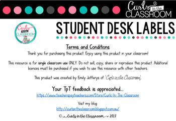 EDITABLE Student Desk Labels - Chalkboard Themed