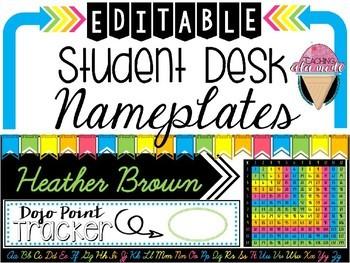 EDITABLE Student Desk Name Plates