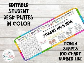 EDITABLE Student Desk Plates in Color