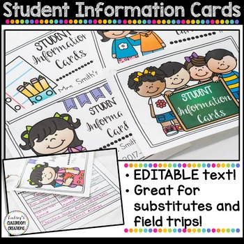 EDITABLE Student Information Cards - Great for Substitutes!