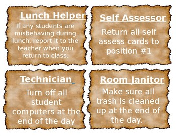 EDITABLE Student Job Descriptions/ Poster- Parchment/ Wizard/ Harry Potter Theme