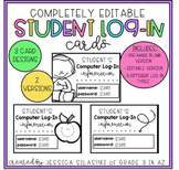 EDITABLE Student Log-In Cards