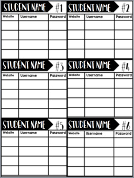 EDITABLE Student Log In Cards