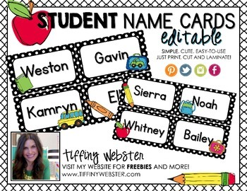 EDITABLE Student Name Tags, Name Cards and/or Labels