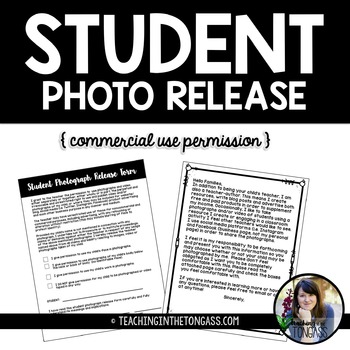 EDITABLE Student Photograph Release Form