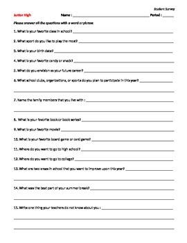 EDITABLE Student Survey