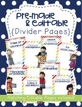 {EDITABLE} Student Teaching Binder