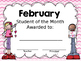 "EDITABLE ""Student of the Month"" awards"
