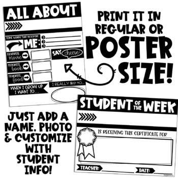 EDITABLE Student of the Week Kit (All About Me Poster and MORE!)