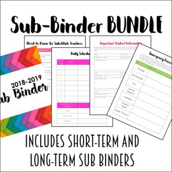 EDITABLE Sub Binder BUNDLE for Middle and High School Teachers