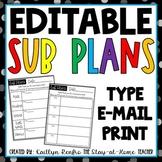 EDITABLE Sub Plan Templates