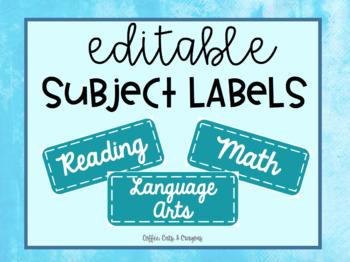 EDITABLE Subject Labels