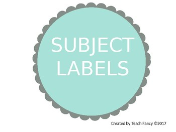 EDITABLE Subject Labels - Scalloped Circles