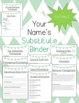 EDITABLE Substitute Binder - Comes in 5 colors!