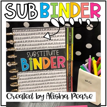 EDITABLE Substitute Binder and Forms for your Sub Tub