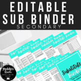 EDITABLE Substitute Binder for Secondary GOOGLE SLIDES and PRINT