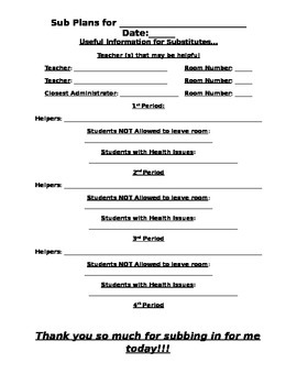 EDITABLE Substitute Plan Template Form