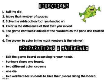 EDITABLE Subtraction Game Board