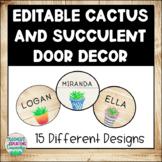EDITABLE Succulent & Cactus Door/ Bulletin Board Decor for