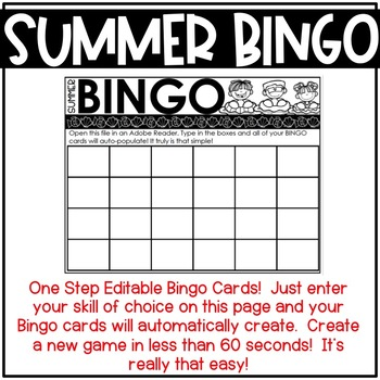 EDITABLE Summer Bingo Cards | Perfect for Math, Sight Words, Spelling and More!