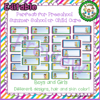 EDITABLE Summer Cubby or Table Names  for Summer Camp, Programs or Preschool