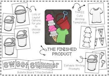 EDITABLE Summer Writing Crafts