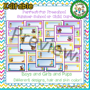 EDITABLE  Summer Kids & Pups  Cubby  Name Tags for  Preschool, Child Care, Camp