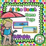 Beach Theme Name Tags - Summer Kids at the Beach