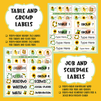 EDITABLE Sunflower Book Bin, Schedule, Table, Group, and Job Labels BUNDLE
