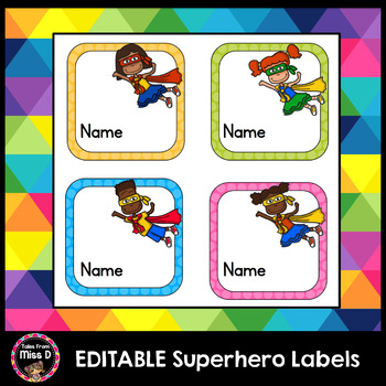 EDITABLE Supehero Labels FREEBIE