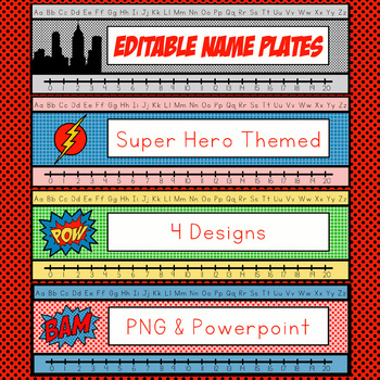 EDITABLE Super Hero Desk Plates, Name Tags