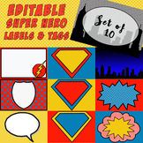 EDITABLE Super Hero Labels, Tags, Door Decor - Set of 10