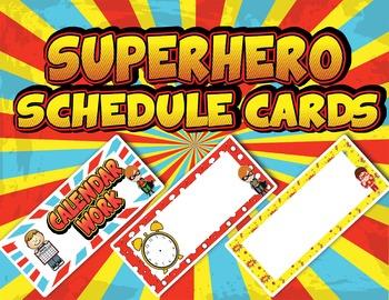 EDITABLE Superhero Schedule Cards - PDF & PowerPoint Edita