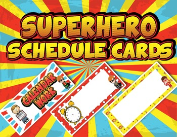 EDITABLE Superhero Schedule Cards - PDF & PowerPoint Editable Formats - CLOCKS