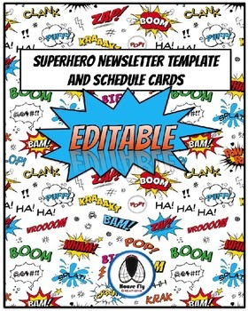 EDITABLE Superhero Theme Newsletter Templates and Schedule Cards