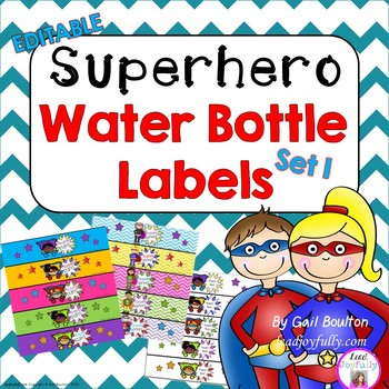 EDITABLE Superhero Water Bottle Labels SET 1