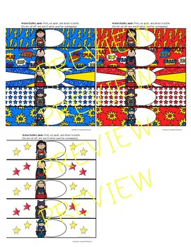 EDITABLE Superhero Water Bottle Labels SET 2