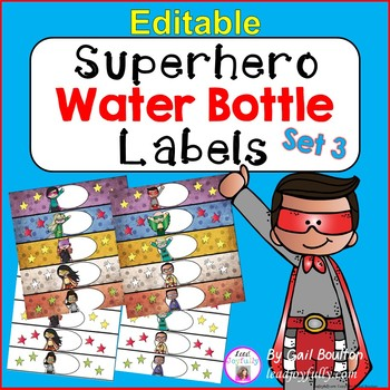 EDITABLE Superhero Water Bottle Labels SET 3