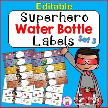 EDITABLE Superhero Water Bottle Labels SET 3