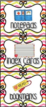 EDITABLE Supply Bins- Labels Galore! Chevron with Graphics-Two Sizes!
