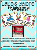 EDITABLE Supply Bins- Labels Galore! Chevron with Graphics