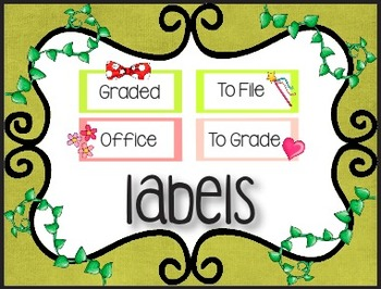 EDITABLE Supply Bins- Labels Galore! Safari Vines with Graphics-Two Sizes!