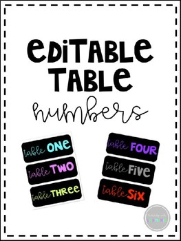 EDITABLE Supply Caddy Table Numbers