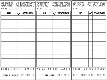 EDITABLE Supply Checklist FREEBIE